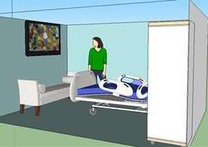 医院空间素材设计SU(草图大师)模型