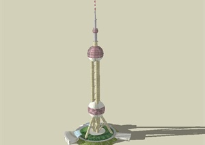 东方明珠广播电视塔建筑设计SU(草图大师)模型