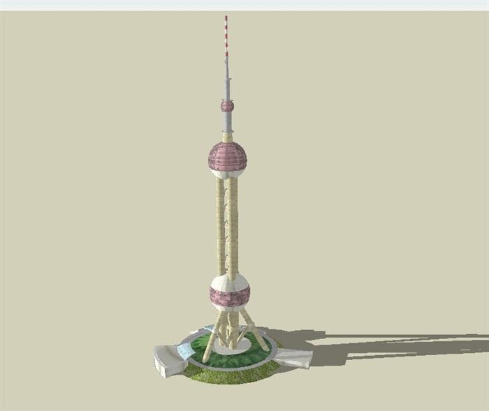 东方明珠广播电视塔建筑设计su模型(1)