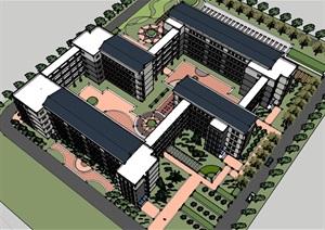 式详细多层宿舍住宅楼设计SU(草图大师)模型-设计素材下载