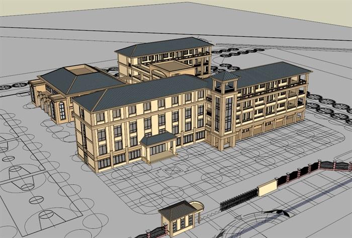 简欧风格多层教学办公楼建筑设计su模型