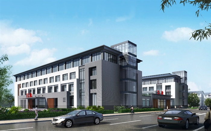现代中式医院、门诊楼、办公楼建筑SU模型