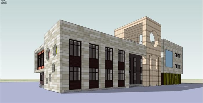 重庆保利幼儿园建筑设计SU椭圆[原创]相交模型绘制的两个图片