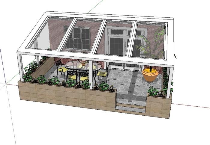 现代阳台景观素材设计su模型[原创]