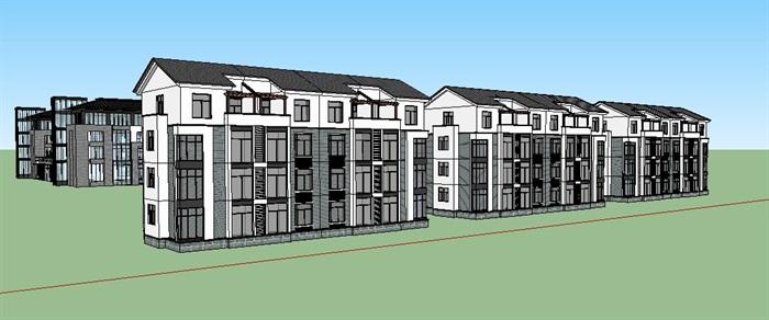 现代中式医院、门诊楼、办公楼建筑SU模型(4)