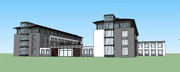 现代中式医院、门诊楼、办公楼建筑SU模型(5)
