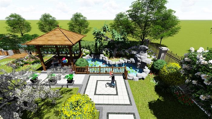 苏州别墅中式花园景观SU模型(1)