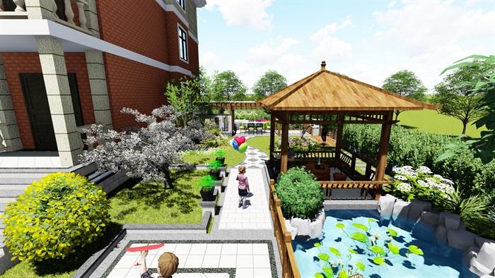 苏州别墅中式花园景观SU模型(2)