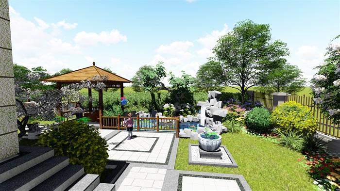 苏州别墅中式花园景观SU模型(3)