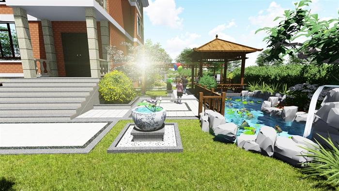 苏州别墅中式花园景观SU模型(4)