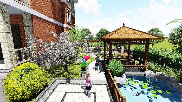 苏州别墅中式花园景观SU模型(5)
