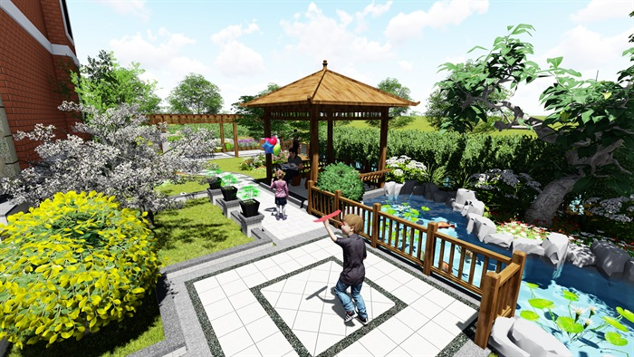 苏州别墅中式花园景观SU模型(6)