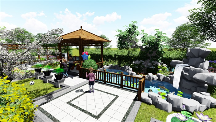 苏州别墅中式花园景观SU模型(7)