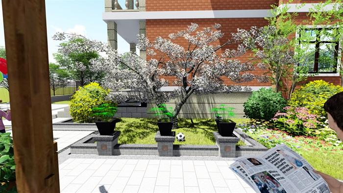 苏州别墅中式花园景观SU模型(8)