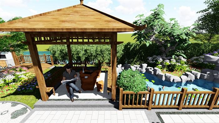 苏州别墅中式花园景观SU模型(9)