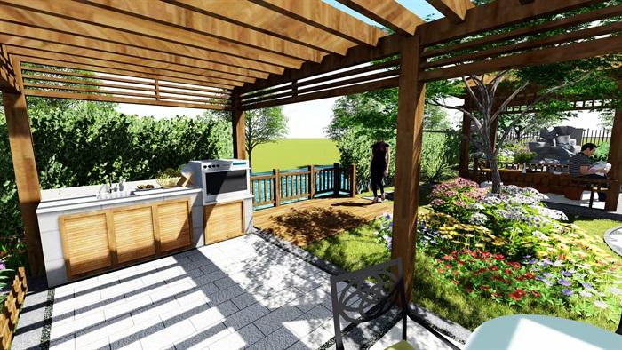 苏州别墅中式花园景观SU模型(10)