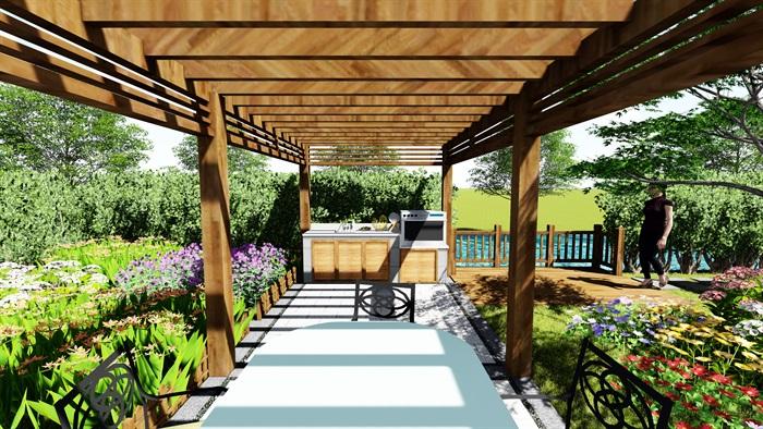 苏州别墅中式花园景观SU模型(11)