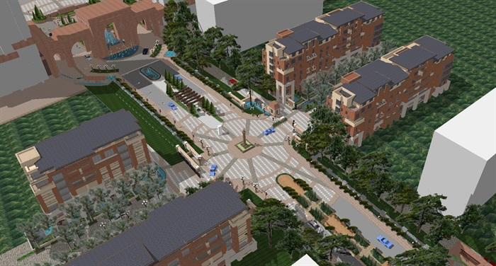 欧式风格小区建筑与景观设计方案su模型[原创]