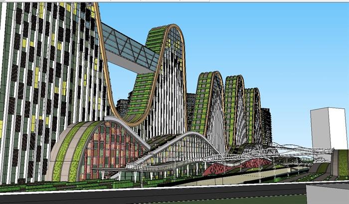 现代大型商业综合体建筑群规划设计su模型[原创]