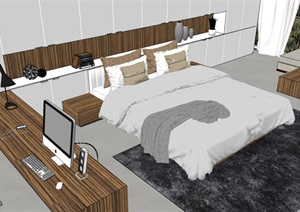 现代极简卧室详细完整SU模型