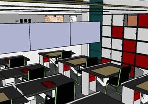 设计教室室内空间设计SU(草图大师)模型