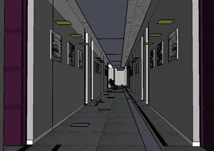 顶层走廊过道设计SU(草图大师)模型