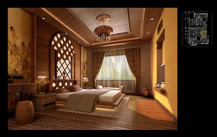 東南亞住宅室內設計cad施工圖及效果圖