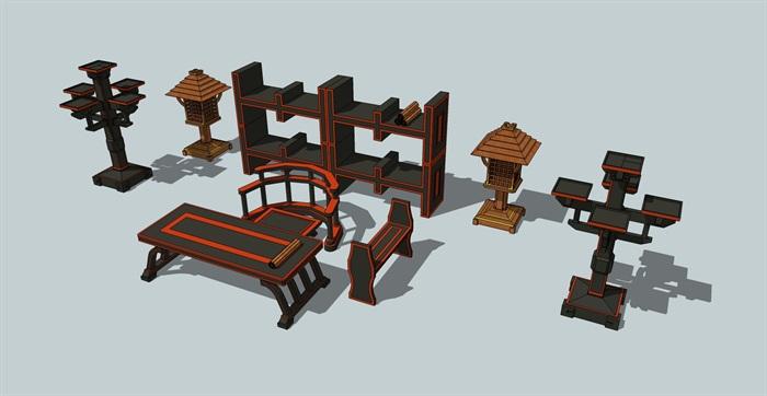 汉代家具桌椅等素材su模型[原创]