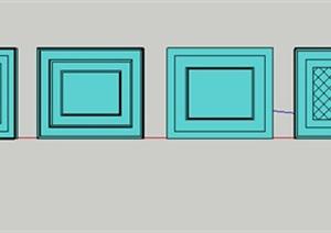 六款矩形吊顶样式SU(草图大师)模型