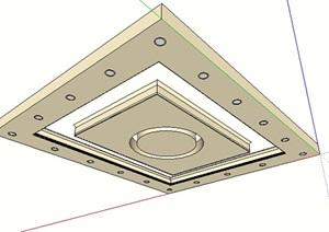 客厅吊顶素材设计SU(草图大师)模型