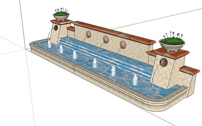 欧式喷泉水景墙设计su模型[原创]