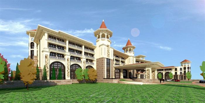 Golf会所地中海风格建筑su模型