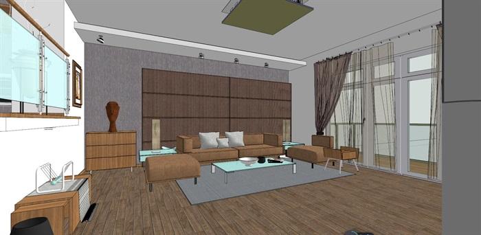 现代客厅室内精细su模型
