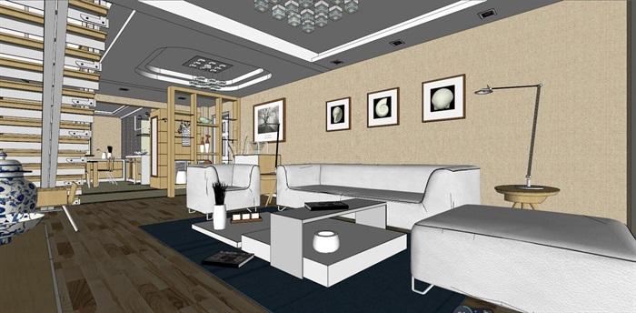 客厅室内超精细模型SU(3)