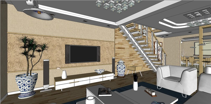 客厅室内超精细模型SU(4)