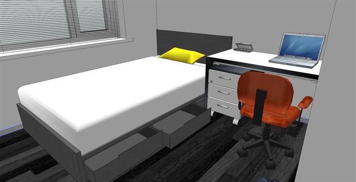 户型室内卧室设计精细su模型