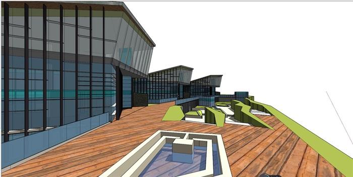 现代小品式办公楼建筑设计su模型