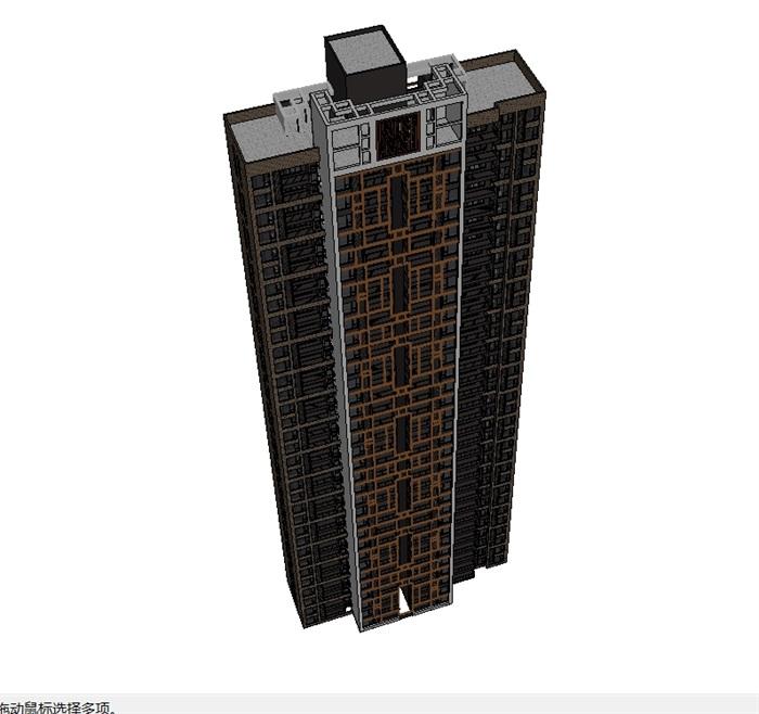 中式高层住宅建筑楼su模型(2)