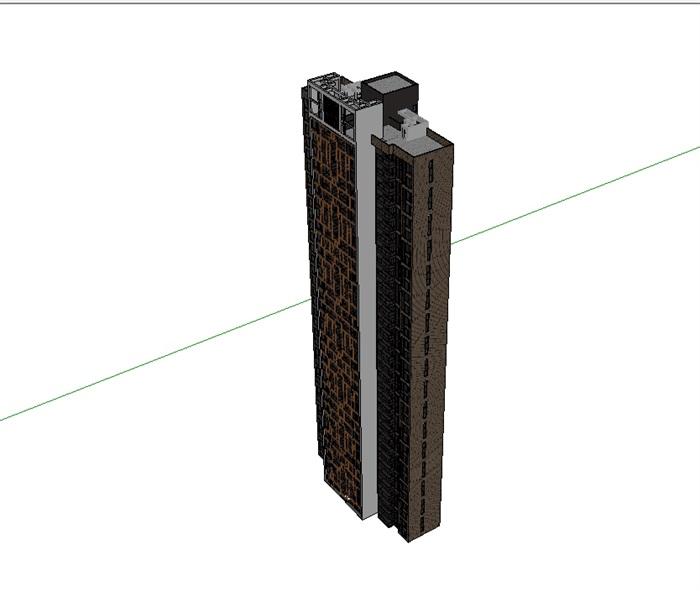 中式高层住宅建筑楼su模型(3)