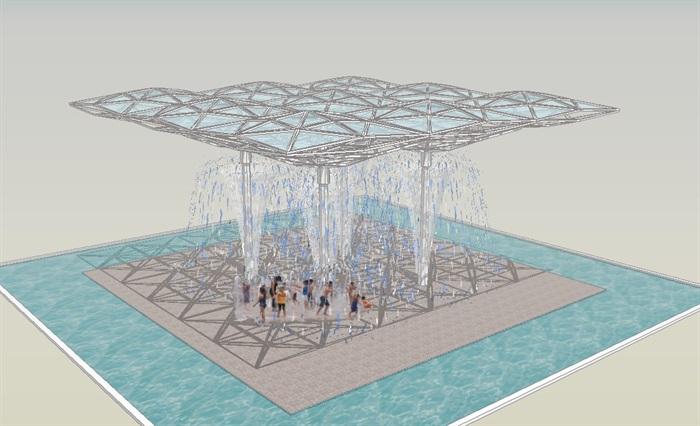 景观廊架喷泉水景su模型[原创]