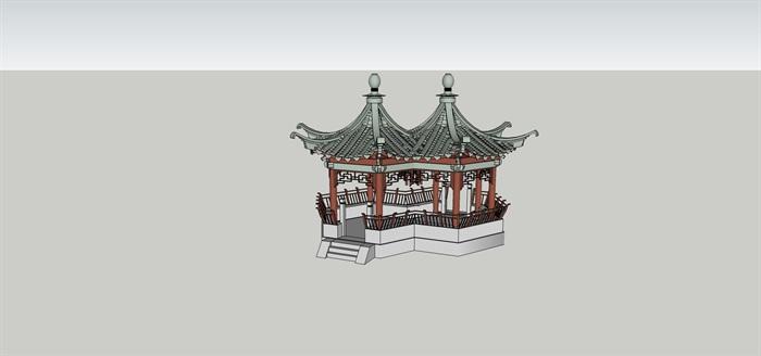 中式六角套亭连亭设计su模型