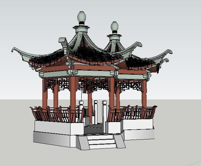 中式六角套亭连亭设计su模型(2)
