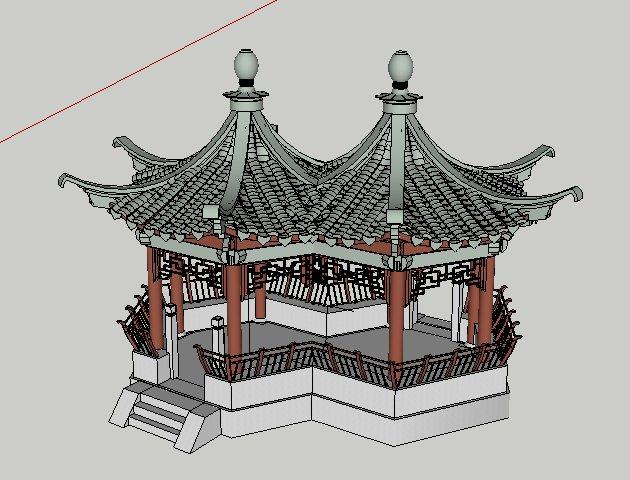 中式六角套亭连亭设计su模型(3)