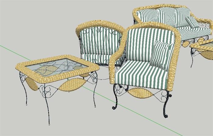 现代风格精美沙发茶几、花园桌椅、餐桌椅su模型(2)