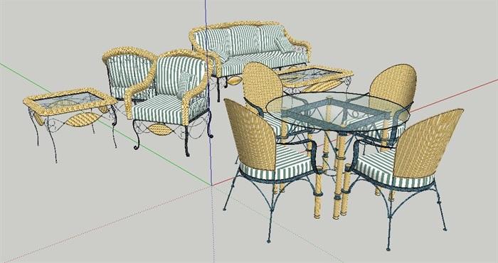 现代风格精美沙发茶几、花园桌椅、餐桌椅su模型(3)