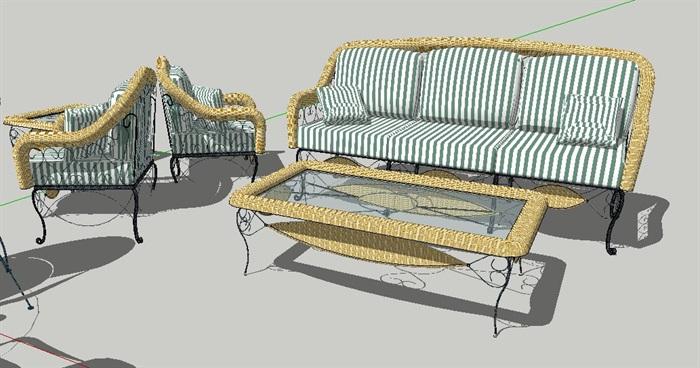 现代风格精美沙发茶几、花园桌椅、餐桌椅su模型(4)