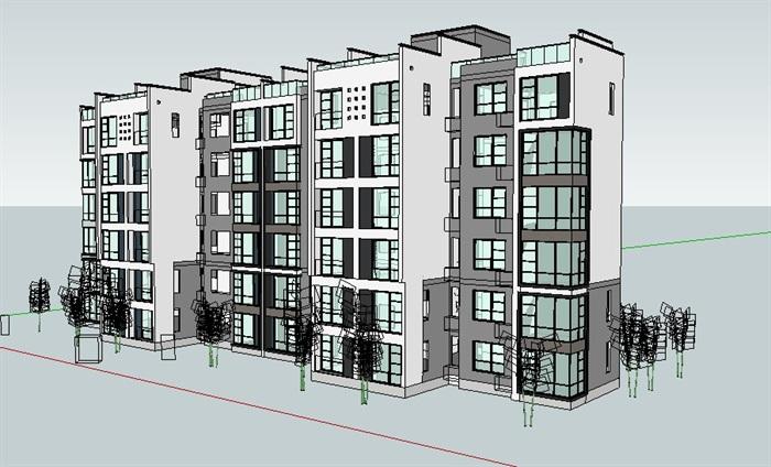 中式多层住宅楼设计su模型[原创]