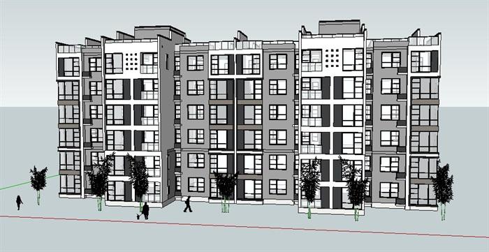 中式多层住宅楼设计su模型(2)