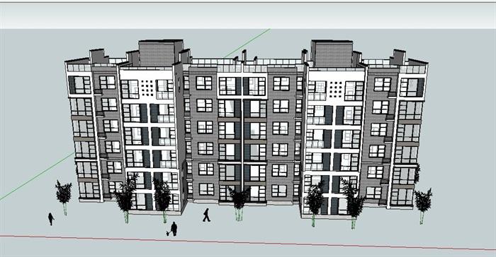 中式多层住宅楼设计su模型(3)