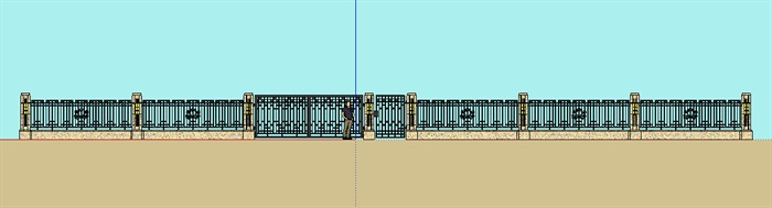 新古典风格铁门及围墙su模型